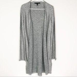 WHBM Silver Gray Metallic Knit Duster Cardigan M